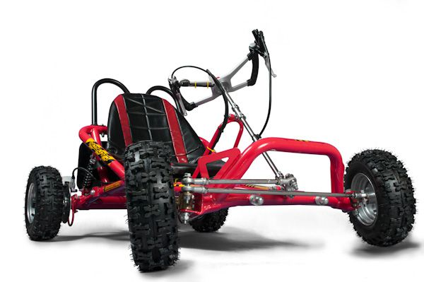 Drift Go Kart in red with padded seat cover
